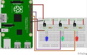 Steckplatinen-Schaubild des Anschluss von 3 LEDs am Raspberry Pi