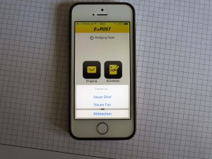 Oberfläche der App zum Telefaxversand