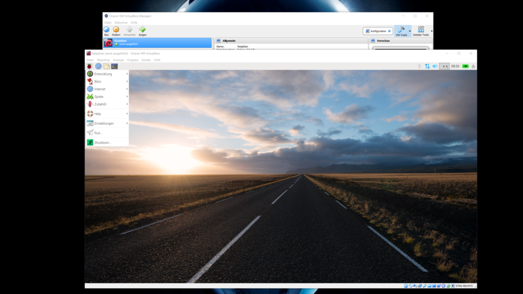 Raspberry Pi Desktop unter VirtualBox